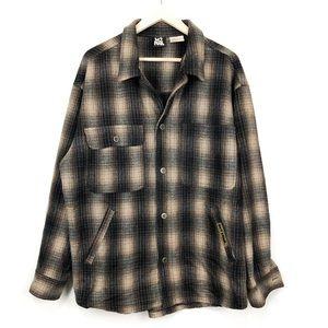 VTG 90s NO FEAR wool plaid grunge flannel top